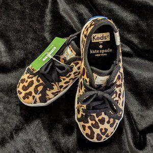 Kate Spade Leopard Skin real calf fur Keds 8T NWT
